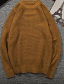 tanie Męskie swetry i swetry rozpinane-Męskie Codzienny Solidne kolory Długi rękaw Regularny Pulower, Okrągły dekolt Biały / Wino / Khaki L / XL / XXL