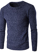 cheap Men's Polos-Men's Solid Colored Long Sleeve Pullover, Round Neck Fall / Winter Wine / Light gray / Brown US32 / UK32 / EU40 / US34 / UK34 / EU42 / US36 / UK36 / EU44