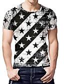 זול טישרטים לגופיות לגברים-קולור בלוק צווארון עגול בסיסי / סגנון רחוב מועדונים טישרט - בגדי ריקוד גברים דפוס שחור ולבן / שרוולים קצרים / קיץ