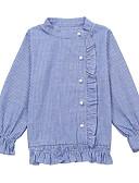 お買い得  女児 トップス-子供 女の子 活発的 / ストリートファッション 日常 / お出かけ ストライプ ラッフル 長袖 レギュラー レーヨン シャツ ブルー