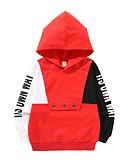 billige Hættetrøjer og sweatshirts til drenge-Børn / Baby Drenge Aktiv Daglig Trykt mønster Trykt mønster Langærmet Normal Bomuld Hættetrøje og sweatshirt Sort