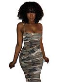 Χαμηλού Κόστους Βραδινά Φορέματα-Γυναικεία Εξόδου Βασικό Λεπτό Εφαρμοστό Φόρεμα - Φλοράλ Ως το Γόνατο Ψηλή Μέση Τιράντες / Sexy