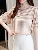 זול חולצה-חולצת נשים - בדיקת צוואר עגול