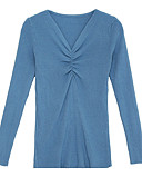 povoljno Ženski džemperi-Žene Dnevno Jednobojni Dugih rukava Slim Regularna Pullover, V izrez Obala / Crn / Bež S / M / L
