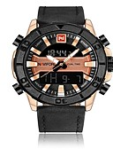 cheap Dress Watches-NAVIFORCE Men's Sport Watch Military Watch Japanese Japanese Quartz 30 m Water Resistant / Water Proof Alarm Calendar / date / day Genuine Leather Band Analog-Digital Luxury Fashion Black / Brown -