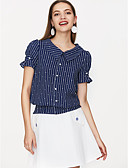 cheap Women's T-shirts-Women's Vintage T-shirt - Solid Colored Blue & White, Backless