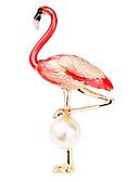 baratos Chapéus Femininos-Homens Pérolas de água doce Fashion / Contas Broches - Criativo, Flamingo Luxo, Fashion, Elegante Broche Roxo / Vermelho / Azul Para Festa / Diário