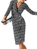 cheap Women's Down & Parkas-Women's Daily Elegant Slim Sheath Dress - Geometric Lace up Deep V Fall Black L XL XXL / Sexy