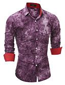 cheap Men's Shirts-Men's Cotton Slim Shirt - Solid Colored / Long Sleeve