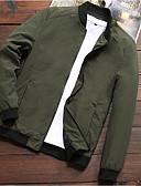 cheap Men's Jackets & Coats-Men's Sports Spring Regular Jacket, Solid Colored Stand Long Sleeve Polyester Black / Dark Gray / Army Green XXL / XXXL / XXXXL