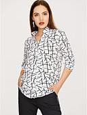 cheap Women's Blouses-Women's Basic Street chic Blouse - Geometric, Patchwork