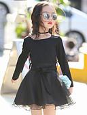 hesapli Çocuk Nedime Elbiseleri-Çocuklar Genç Kız Günlük Günlük / Dışarı Çıkma Kırk Yama Kırk Yama Uzun Kollu Suni İpek / Polyester Elbise Siyah