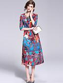 abordables Jerséis de Mujer-Mujer Tejido Oriental Recto Vestido - Estampado, Floral Midi