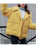 abordables Blazers y Chaquetas de Mujer-Mujer Diario Casual Un Color Regular Acolchado, Poliéster Manga Larga Invierno Con Capucha Amarillo M / L / XL