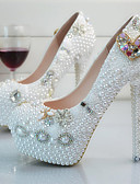 ieftine Tricou-Pentru femei Tocurile de toaletă PU Primăvara & toamnă Balerini Basic pantofi de nunta Toc Stilat Vârf rotund Piatră Semiprețioasă / Perle Alb / Nuntă / Party & Seară