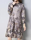tanie Sukienki-Damskie Wzornictwo chińskie Zmiana Sukienka - Kwiaty, Nadruk Kołnierz stawiany Nad kolano