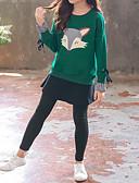 お買い得  女児 ウェアセット-子供 女の子 活発的 ストリートファッション 日常 スポーツ プリント パッチワーク パッチワーク プリント 長袖 コットン アンサンブル グリーン