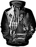 hesapli Erkek Kapşonluları ve Svetşörtleri-Erkek Punk ve Gotik / Abartılı Büyük Bedenler Pantolon - Geometrik Desen Siyah / Yuvarlak Yaka / Uzun Kollu / Sonbahar