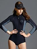 Χαμηλού Κόστους One-piece swimsuits-Γυναικεία Μαγιό 3D Pad Γρήγορο Στέγνωμα Φοριέται Πολυεστέρας Νάιλον Μακρυμάνικο Μαγιό Ρούχα παραλίας Κορμάκι Patchwork Μποστινό Φερμουάρ Κολύμβηση Καταδύσεις Σέρφινγκ / Ελαστικό / Ελαστικό