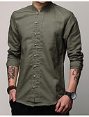 cheap Men's Shirts-Men's Cotton / Linen Shirt - Solid Colored / Short Sleeve