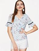 זול חולצה-פרחוני משוחרר סגנון רחוב ליציאה חולצה - בגדי ריקוד נשים דפוס / אביב / קיץ / קפלים