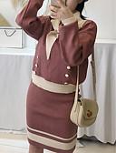 ieftine Costum Damă Două Bucăți-Pentru femei Set - Bloc Culoare, Fustă