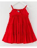 povoljno Haljine za djevojčice-Djeca Djevojčice slatko Izlasci Jednobojni Bez rukávů Iznad koljena Poliester Haljina Red 130
