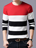cheap Men's Sweaters & Cardigans-men's long sleeve slim pullover - color block round neck