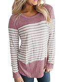 ieftine Tricou-tricou pentru femei - bloc de culoare / gât rotund dungat