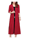 cheap Women's Wool & Wool Blend Coats-Women's Daily Long Trench Coat, Solid Colored Round Neck Short Sleeve Cotton / Polyester Black / Red / Wine XXXL / XXXXL / XXXXXL