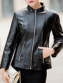 cheap Women's Leather & Faux Leather Jackets-Women's Sports Street chic Regular Leather Jacket, Solid Colored Stand Long Sleeve Polyester Green / Black / Red 4XL / XXXXXL / XXXXXXL