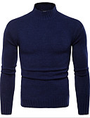 cheap Men's Sweaters & Cardigans-men's long sleeve slim pullover - solid colored turtleneck