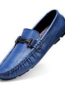 זול חולצות פולו לגברים-בגדי ריקוד גברים מוקסין עור נאפה Leather סתיו בריטי נעליים ללא שרוכים ללא החלקה שחור / חום / כחול