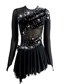 cheap Ice Skating Dresses , Pants & Jackets-Figure Skating Dress Women's / Girls' Ice Skating Dress Black Open Back Asymmetric Hem Spandex Micro-elastic Professional / Competition Skating Wear Handmade Sequin Long Sleeve Figure Skating