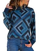 billige damesweaters-Dame Daglig / I-byen-tøj Basale Geometrisk / Tynd Langærmet Tynd Normal Pullover, Rullekrave Efterår / Vinter Blå / Rød / Navyblå L / XL / XXL / Sexy