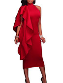 cheap Women's Jumpsuits & Rompers-Women's Party / Going out Sexy Slim Bodycon Dress - Solid Colored Red Crew Neck Summer Blue Black Red L XL XXL
