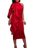 זול שמלות NYE-אדום צווארון עגול קצר עד הברך אחיד - שמלה צינור רזה סקסי Party / ליציאה בגדי ריקוד נשים