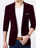 billige Herreblazere og jakkesæt-Herre Fest / Daglig / Arbejde Normal Blazer, Ensfarvet Smoking revers Langærmet Polyester Blå / Sort / Vin XL / XXL / XXXL / Tynd