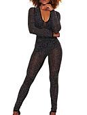 billige Jumpsuits og rompers til damer-Dame Daglig / I-byen-tøj Basale Dyb V Sort Kakifarvet Kroge til store fisk Tynd Flyverdragtter, Ensfarvet Patchwork M L XL Bomuld Uden ærmer / Sexy