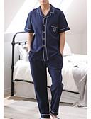 billige Pysjamaser og morgenkåper til herrer-Herre Skjortekrage Dress Pyjamas - Ensfarget