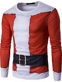 povoljno Muške majice i potkošulje-Majica s rukavima Muškarci Božić / Dnevno Geometrijski oblici Okrugli izrez / Dugih rukava