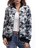 abordables Bombers pour Femme-Femme Quotidien Court Veste, camouflage Col Arrondi Manches Longues Coton / Polyester Vert / Gris L / XL / XXL