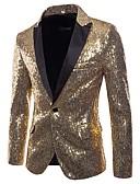 cheap Men's Jackets & Coats-Men's Basic Punk & Gothic Blazer-Solid Colored,Sequins