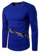 baratos Camisetas & Regatas Masculinas-Homens Camiseta camuflagem Decote Redondo Delgado / Manga Longa