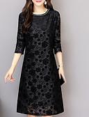 cheap Women's Dresses-Women's Plus Size Daily / Going out Shift Dress - Solid Colored Black, Lace Spring Black XXXL 4XL XXXXXL