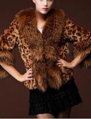cheap Women's Fur & Faux Fur Coats-Women's Basic Fur Coat - Leopard