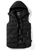 cheap Men's Downs & Parkas-Men's Daily Solid Colored Regular Padded, Polyester Sleeveless Hooded Black / Red / Dark Gray XL / XXL / XXXL