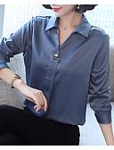 baratos Camisas Femininas-Mulheres Camisa Social Sólido Colarinho de Camisa
