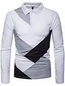 cheap Men's Polos-Men's Polo - Color Block Shirt Collar / Long Sleeve