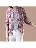 ieftine Jachete & Blazer Damă-Pentru femei Zilnic De Bază Regular Jachetă, Geometric Stand Manșon Lung Poliester Roz Îmbujorat L / XL / XXL